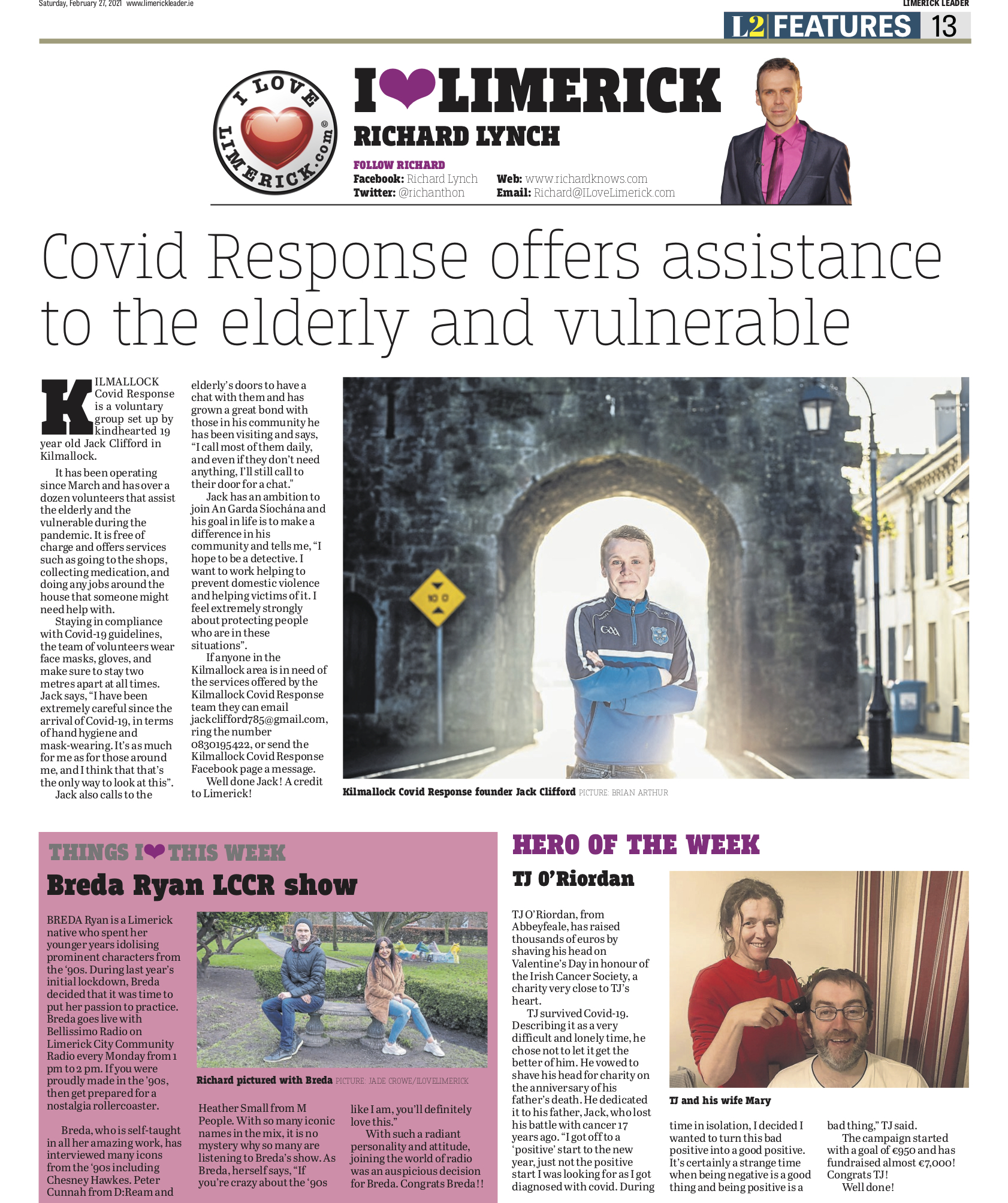 The Leader Column February 27 2021 - Covid Response offers assistance to the elderly and vulnerable
