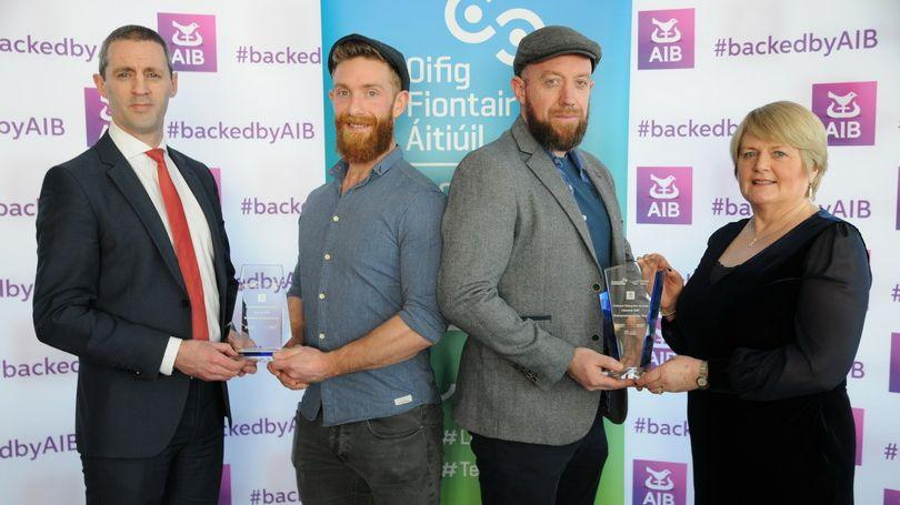 : Pictured winning in 2019 are Mark Maher and Ciaran Cooke, Odyssey Studios, who received the award from Kieran Considine, AIB and Bernie Moloney, Interm Head of LEO. Picture: Paul Mullins Photography