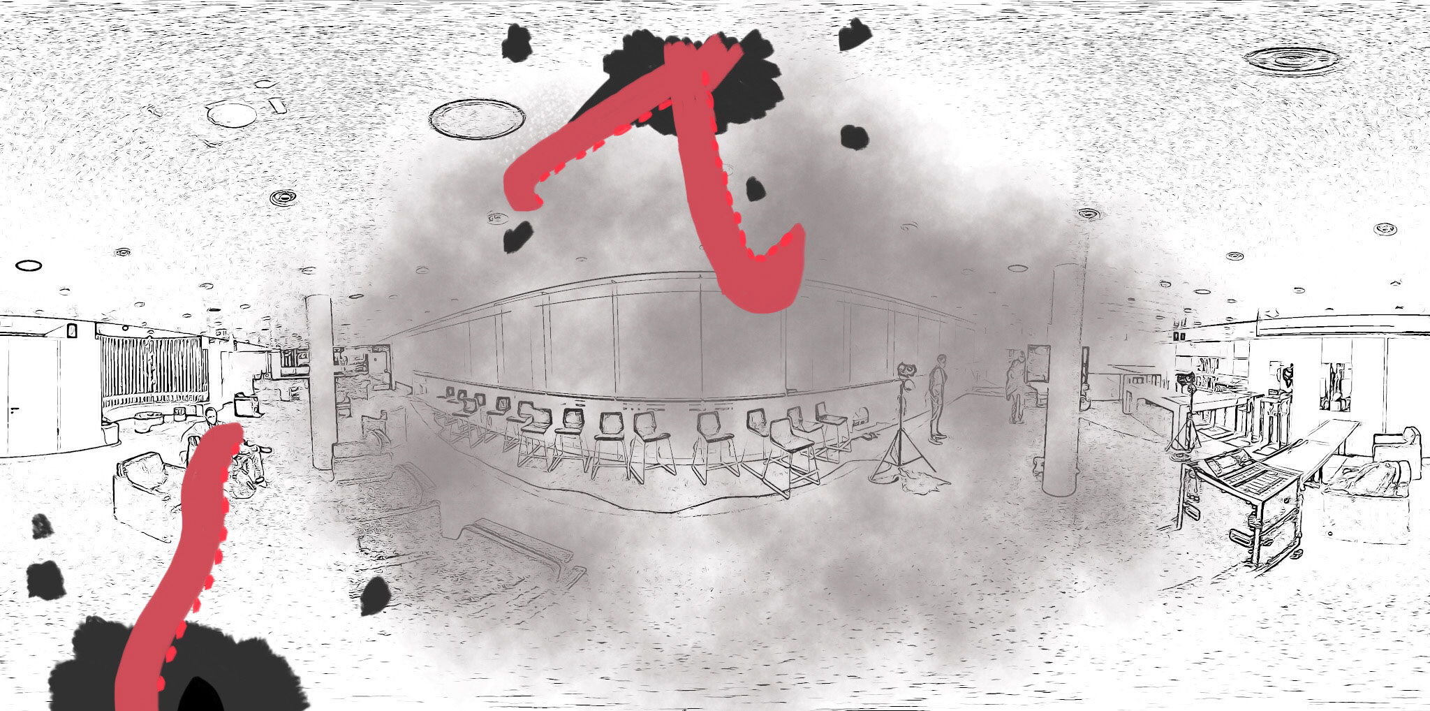 Students have been exploring the world of virtual reality. Drawing by Martyna Czaicka