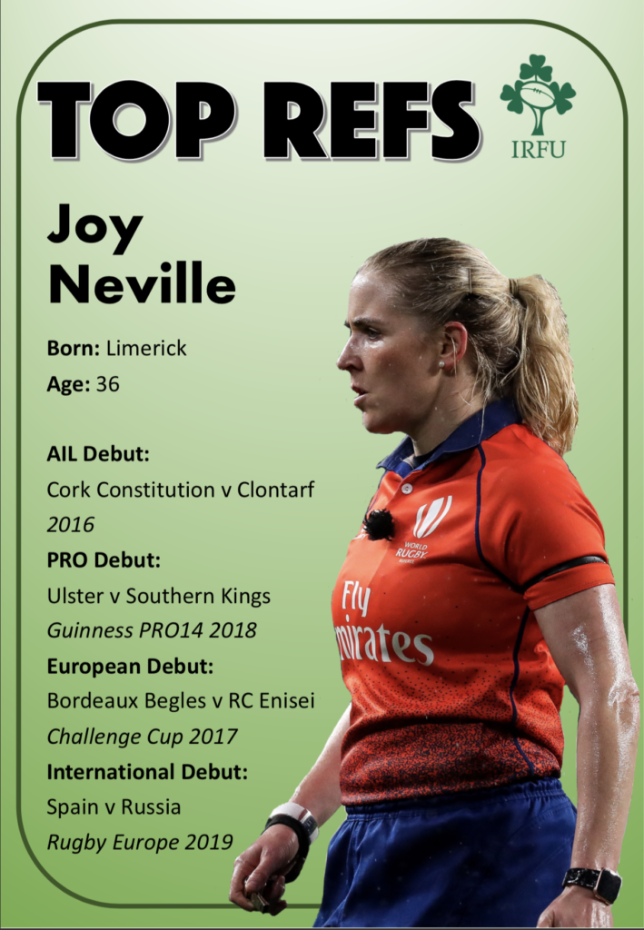 Neville became the first woman to referee a professional European rugby union match
