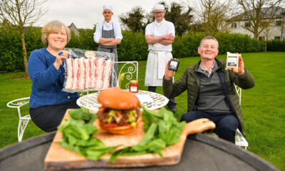 West Limerick Lamb Burger - Pictured above are Caroline Rigney (Rigney's Farm), Jan Bina (Sous Chef, Dunraven Arms Hotel), Chris Starr (Head Chef, Dunraven Arms Hotel) and Eoin Cahill (Cahill's Cheese) at the launch of the West Limerick Spring Lamb Burger Kit. Picture: Diarmuid Greene