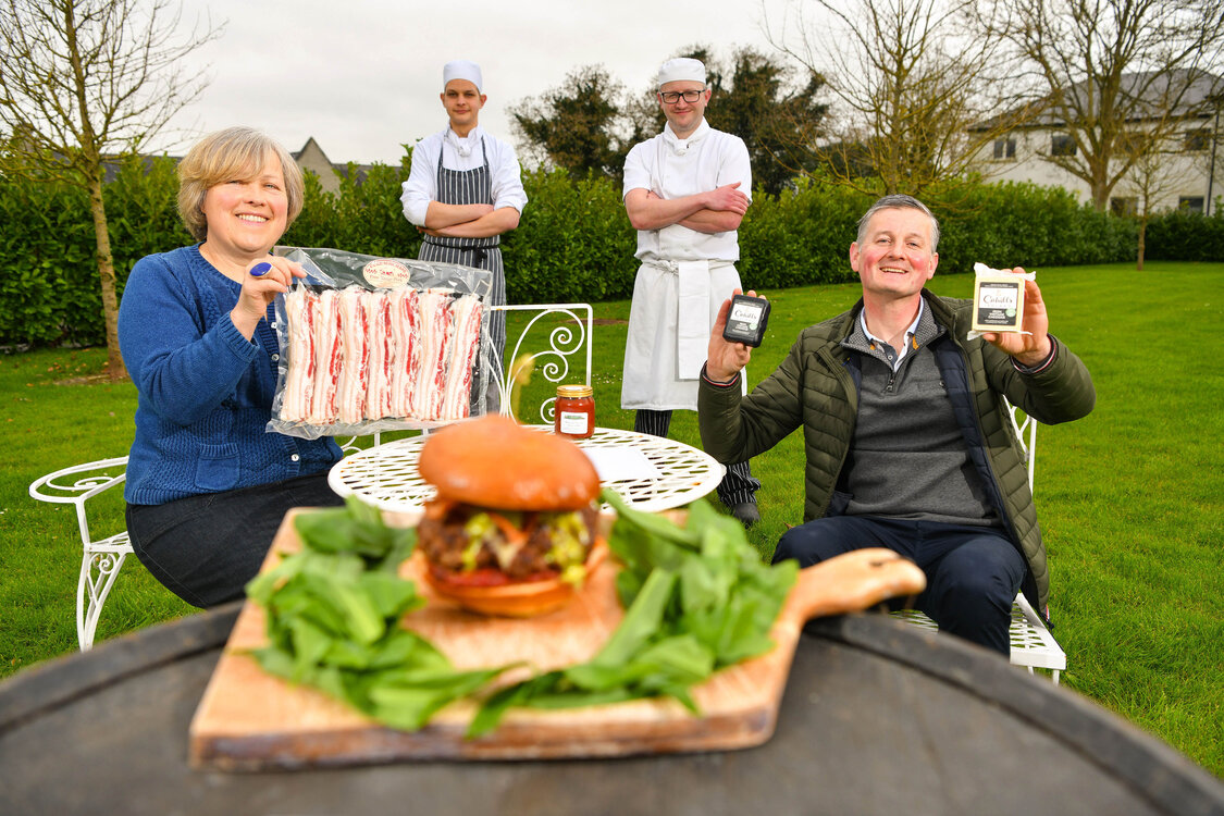 West Limerick Lamb Burger - Pictured above are Caroline Rigney (Rigney's Farm), Jan Bina (Sous Chef, Dunraven Arms Hotel), Chris Starr (Head Chef, Dunraven Arms Hotel) and Eoin Cahill (Cahill's Cheese) at the launch of the West Limerick Spring Lamb Burger Kit. Picture: Diarmuid Greene
