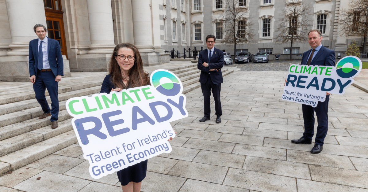 Central Solutions have partnered with Skillnet Ireland to tackle climate change - pictured above are Minister for Further and Higher Education, Research, Innovation and Science, Simon Harris; Skillnet Ireland Executive Director, Tracey Donnery; Minister for the Environment, Climate and Communications, Eamon Ryan; and Skillnet Ireland Chief Executive, Paul Healy