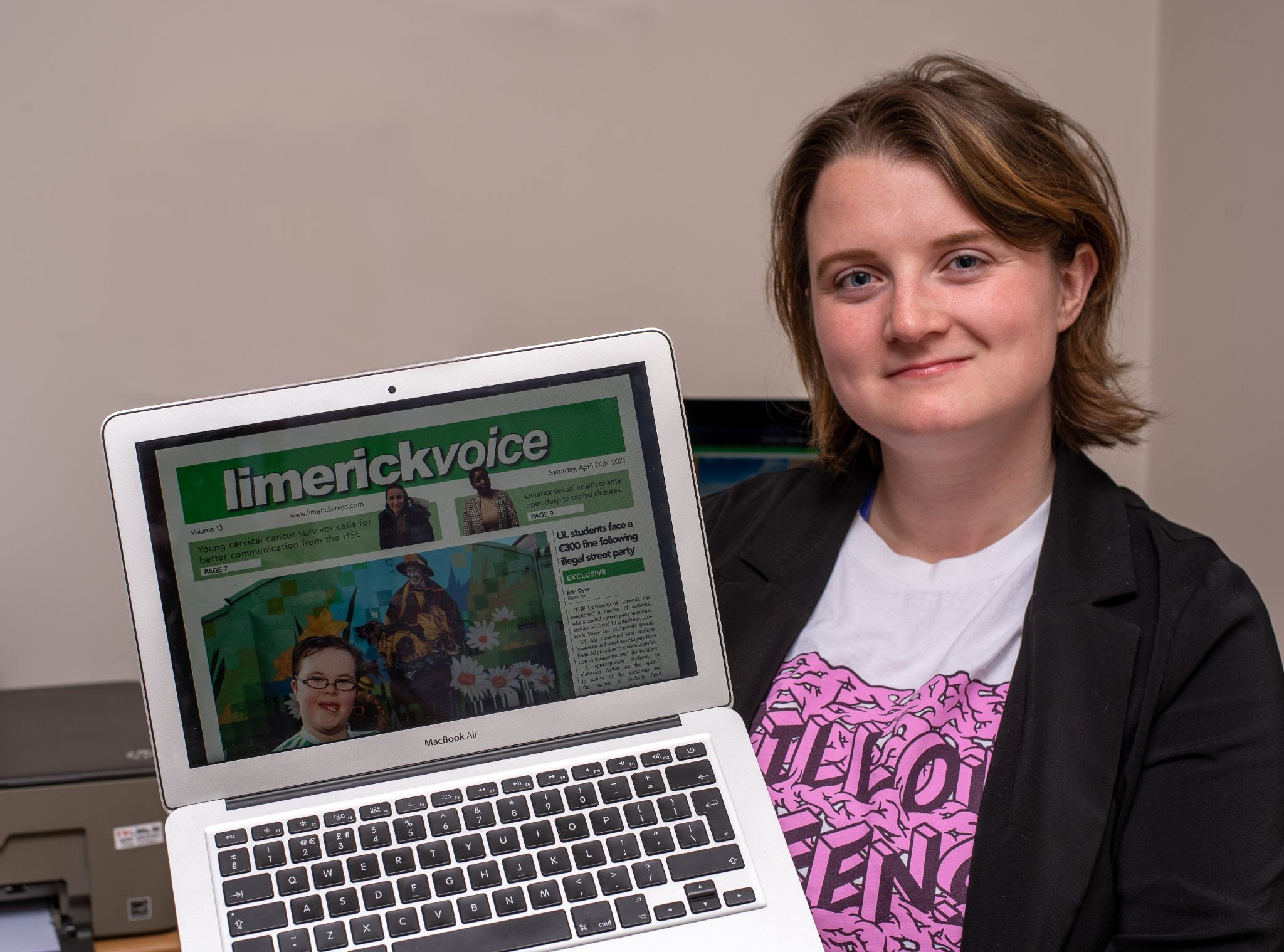 Limerick Voice newspaper Editor 2021 Christine Costello pictured above with Limerick Voice front page