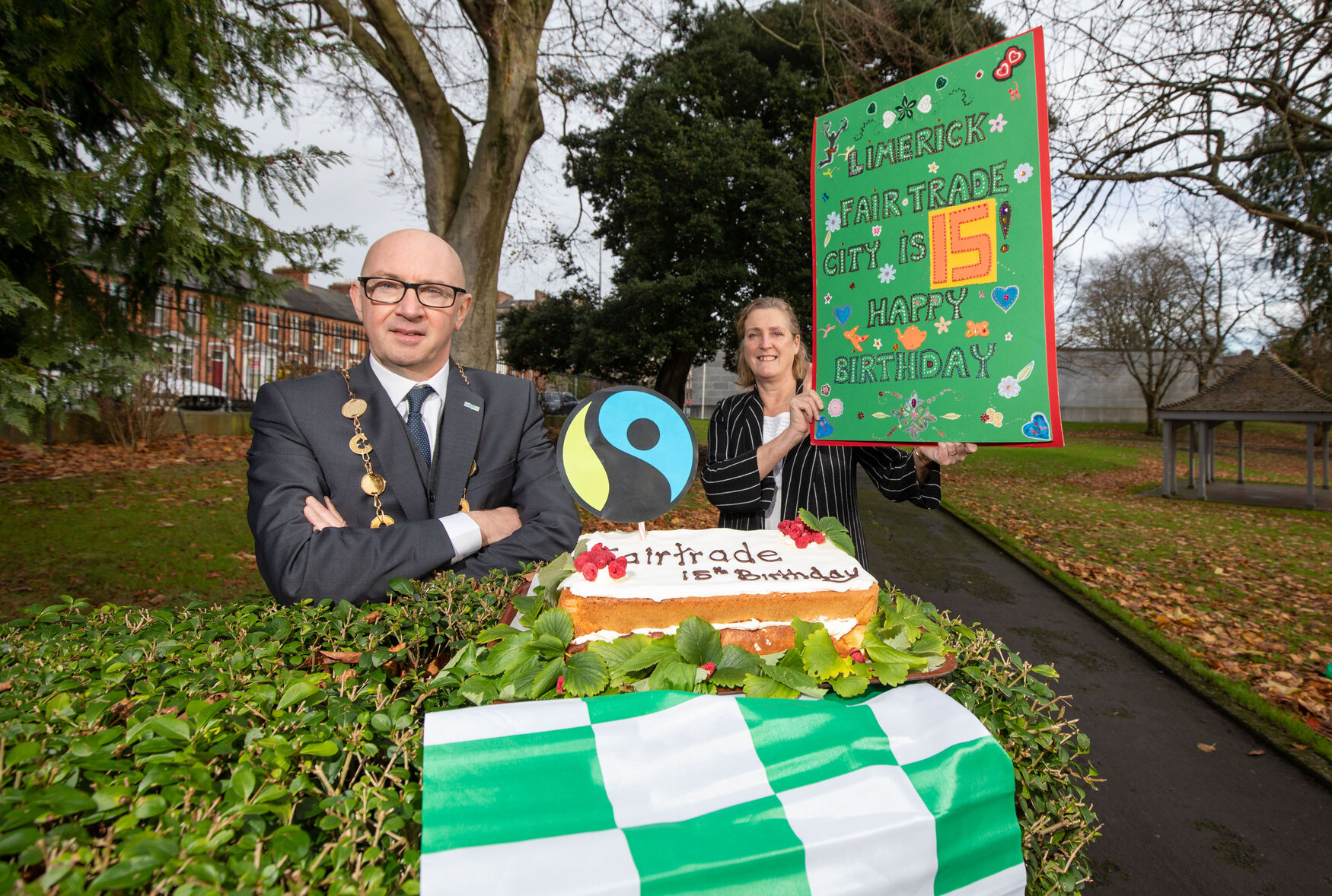 Mayor Michael Collins and Helen O'Donnell celebrating Fairtrade Limerick's 15th Birthday last November. Picture: Alan Place