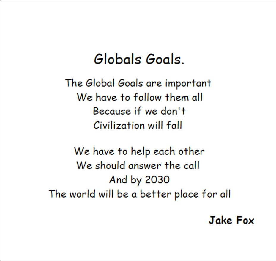 Poem 'Globals Goals' by Scoil Ide pupil Jake Fox
