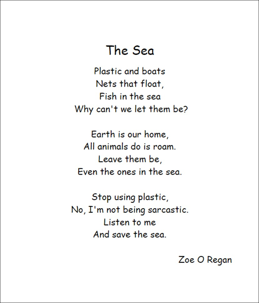 Poem 'The Sea' by Scoil Ide pupil Zoe O Regan