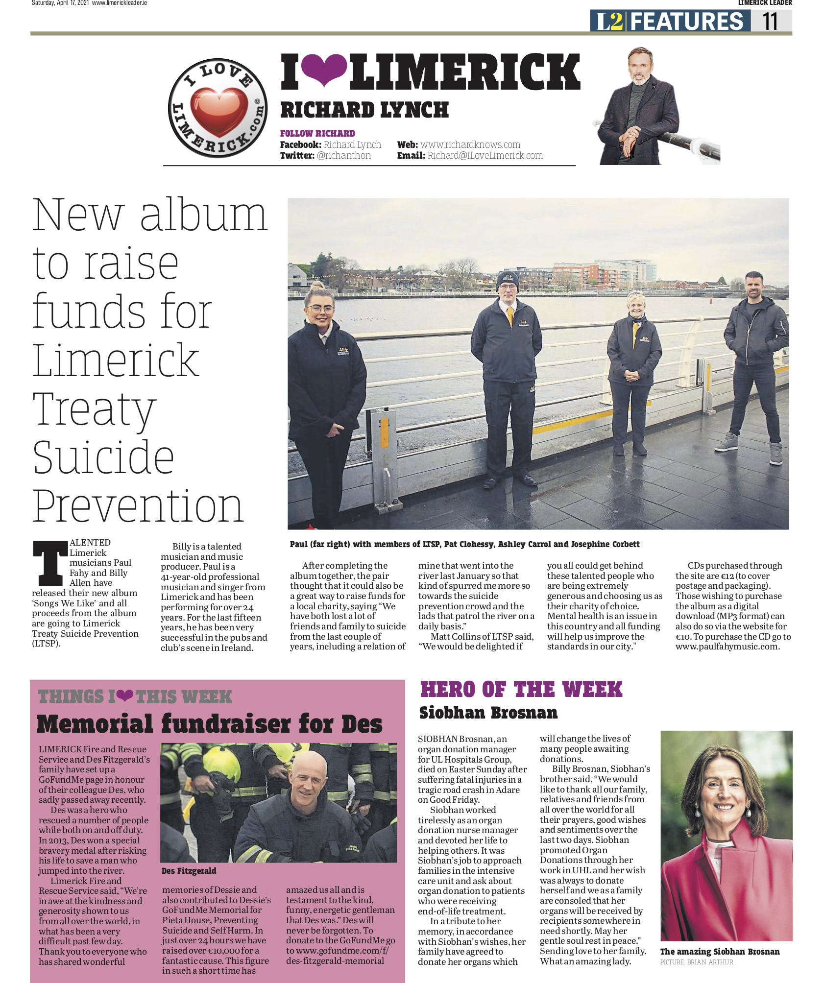 The Leader Column April 17 2021 - New album to raise funds for Limerick Treaty Suicide Prevention.