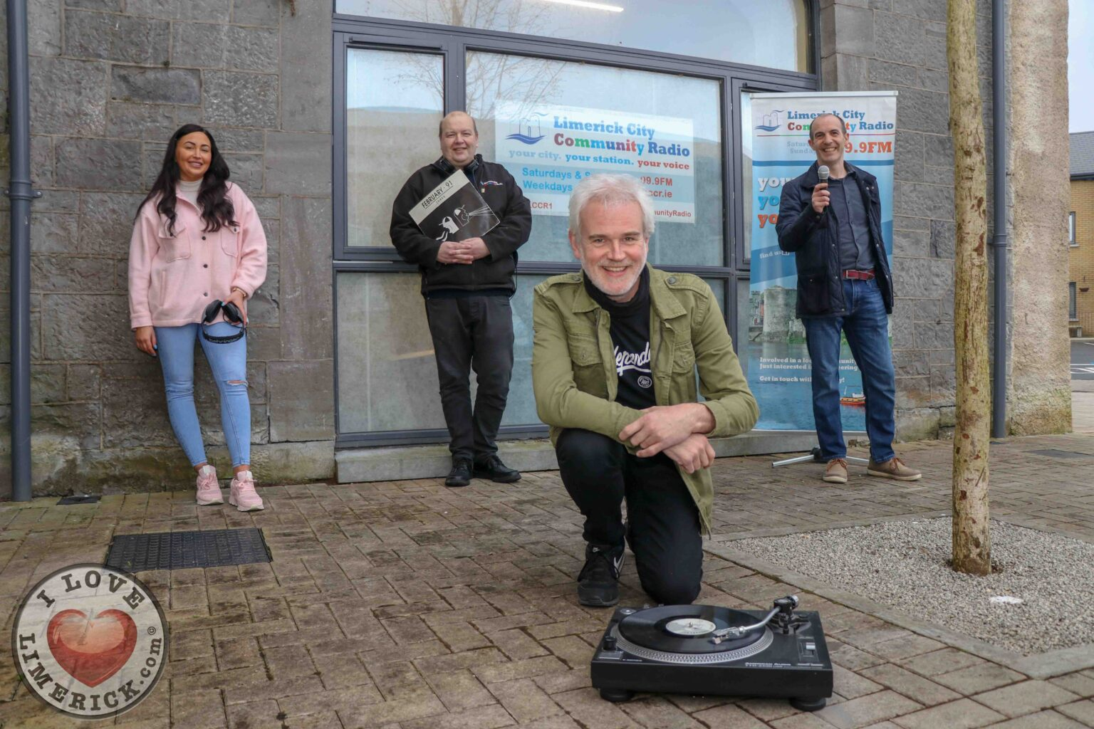 10 Questions with DJ Eric Fitzgerald - Pictured at Limerick City Community Radio on Edward Street are presenter Breda Ryan Richard Smith, Chairperson LCCR and presenter Seanie Ryan (back) and presenter Eric Fitzgerald (front). Picture: Dylan Frawley/ilovelimerick