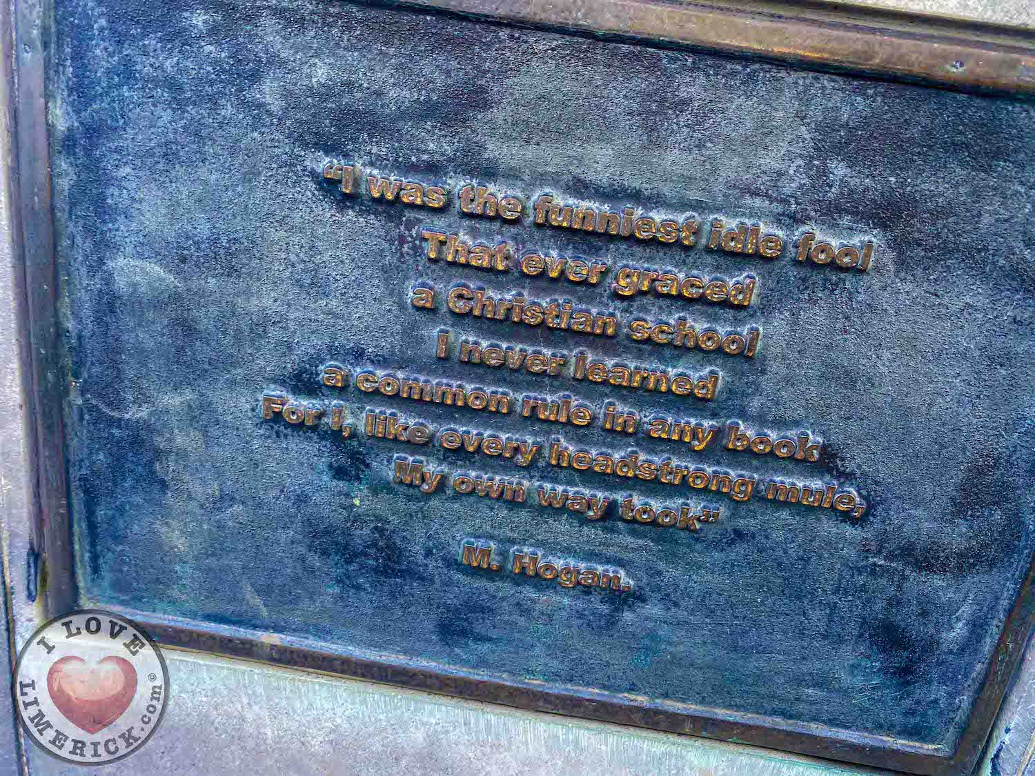 Bard of Thomond - The quote on the Bard of Thomond statue. Picture: ilovelimerick