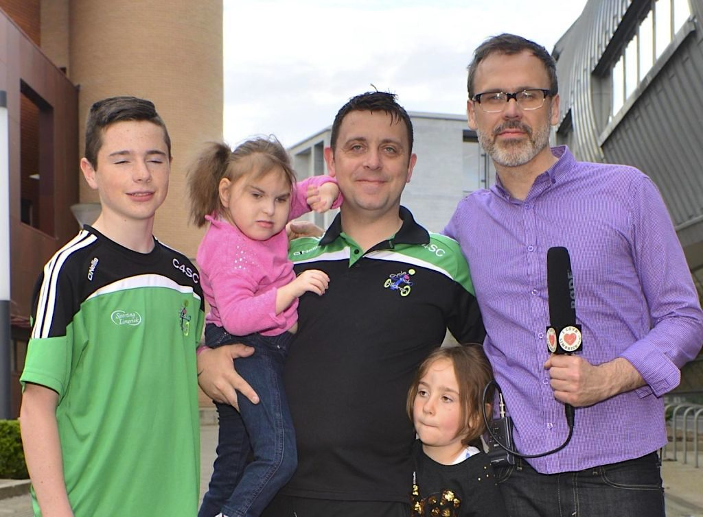 Richard pictured with the Mulcahys including the beautiful Sophie in pink. Picture: Caleb Purcell