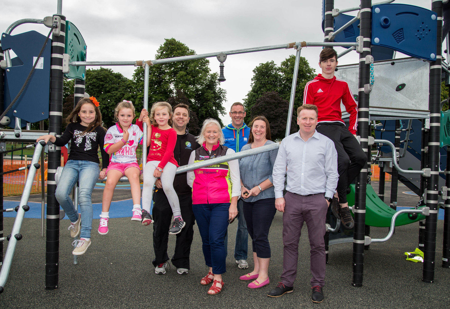 Pictured at the new Mungret Inclusion Park and Playground were, Kayla Mulcahy, Lexie O'Donoghue, Aoife Carroll, Liam Mulcahy, Sophies Journey, Valerie Dunne, C4SC, Gerard Lynch, Team Sophie, Christine O'Donoghue, Keith Walker, Kompan and Dion O'Dowd. Picture by Alan Place.