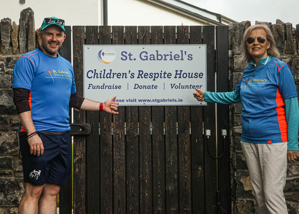 In July 2020 Limerick man Bernard Quinn took on the challenge of walking 100,000 steps in one day to raise money for St. Gabriel's new Children's Respite House. Pictured here with Kate Sheahan, Fundraising Manager St Gabriels.