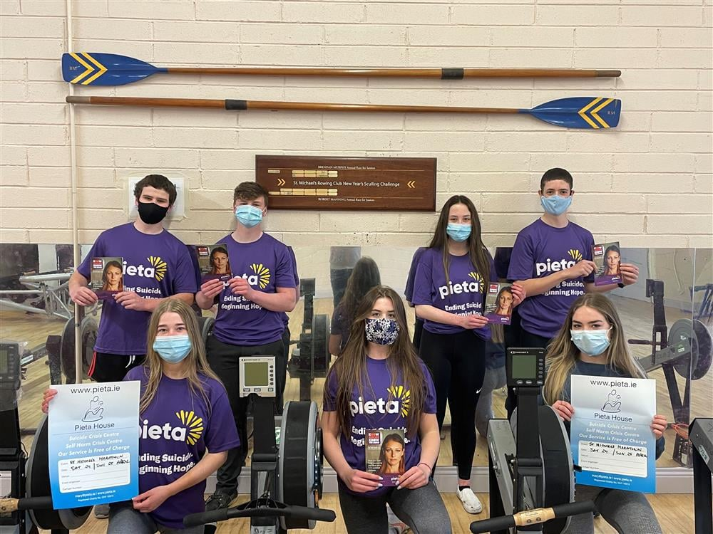 St Michaels Rowing Club members will complete a distance of 3,150km over the two days for Pieta House.