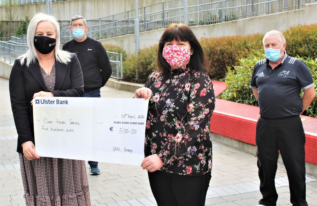 Colette Cowan, CEO, UL Hospitals Group (front left) presents a cheque to Martha Barrett of Clare Haven Services. Also pictured are (back, from left) Tom Moloney and Willie Allen, UL Hospitals Group.