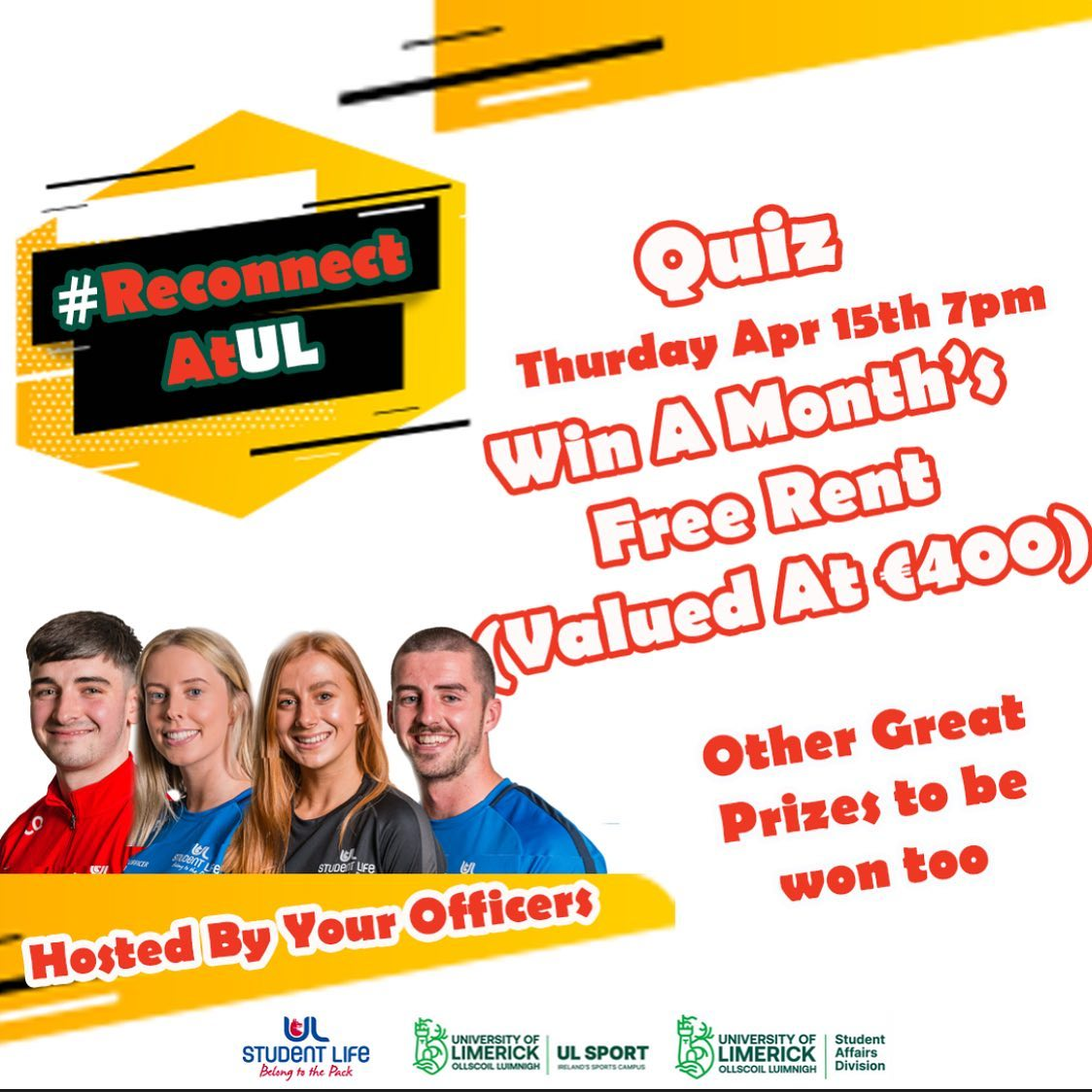 UL Student Life Officers hosted a table quiz with the theme being #ReconnectAtUL