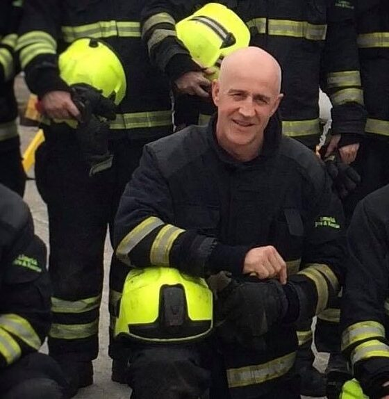 Des Fitzgerald pictured above is being honoured by his colleagues at Limerick Fire Rescue Fundraiser