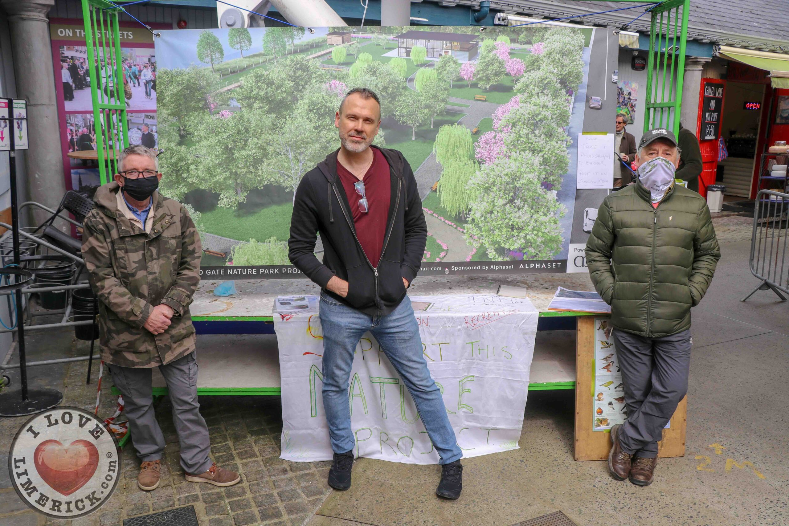 Thomondgate Nature Park Project is a campaign set up by the community to develop a safe and secure national park to allow people to reconnect with nature. Richard Lynch (centre) pictured above with Kevin Keily and Pat Murphy of Thomondgate Nature Park project at the Limerick Milk Market. Picture: Hugo Lynch/ilovelimerick