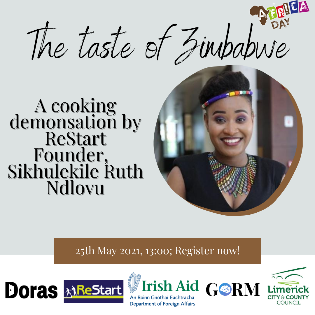A Taste of Zimbabwe cooking demonstration by ReStart Founder Sikhulekile Ruth Ndlovu is one of the scheduled events
