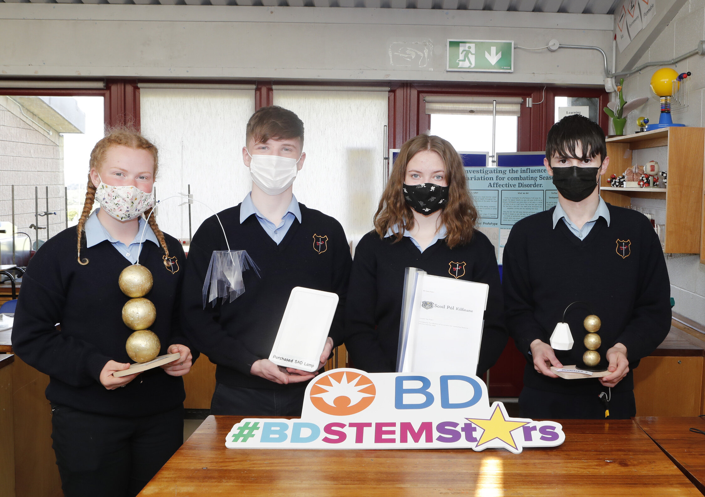 """BD Stem Stars awards - from Scoil Pól, Kilfinane, Co. Limerick all transition year students Leah O'Brien, Chris Costigan, Aisling Daly and Pádraig Brazil Carroll pictured above. The students project is named """"Investigating the influence of Lux variation for combating Seasonal Affective Disorder."""" Picture: Liam Burke/Press 22."""