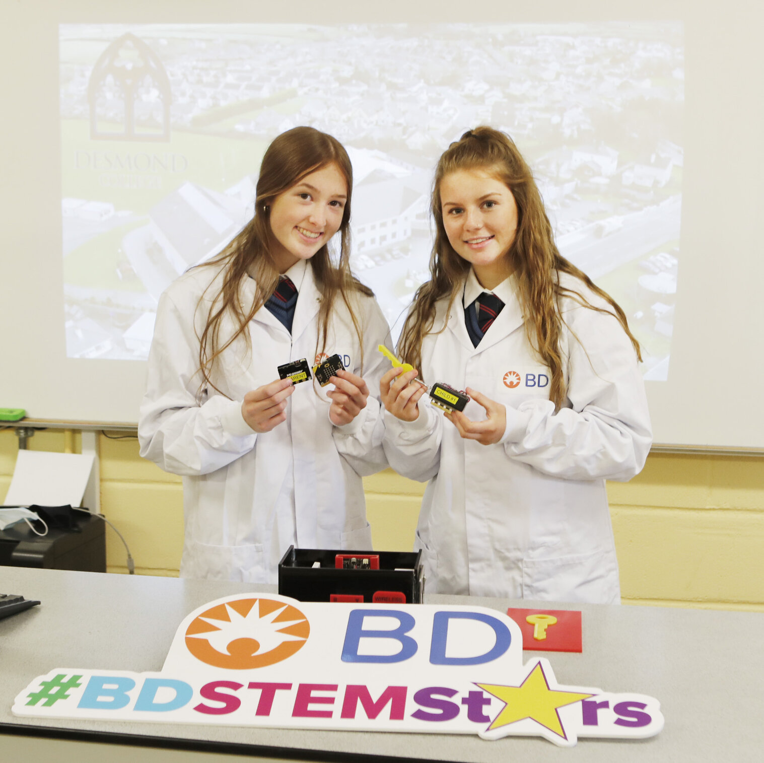 Emma Brennan and Aoife Lee both 5th year students at Desmond College, Newcastlewest with their project Exercise is Key. Picture: Liam Burke/Press 22.