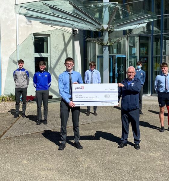 St Clements College donate to Pieta House - 5th year students donated as part of the fundraising efforts of the Anois Youth Leadership Programme