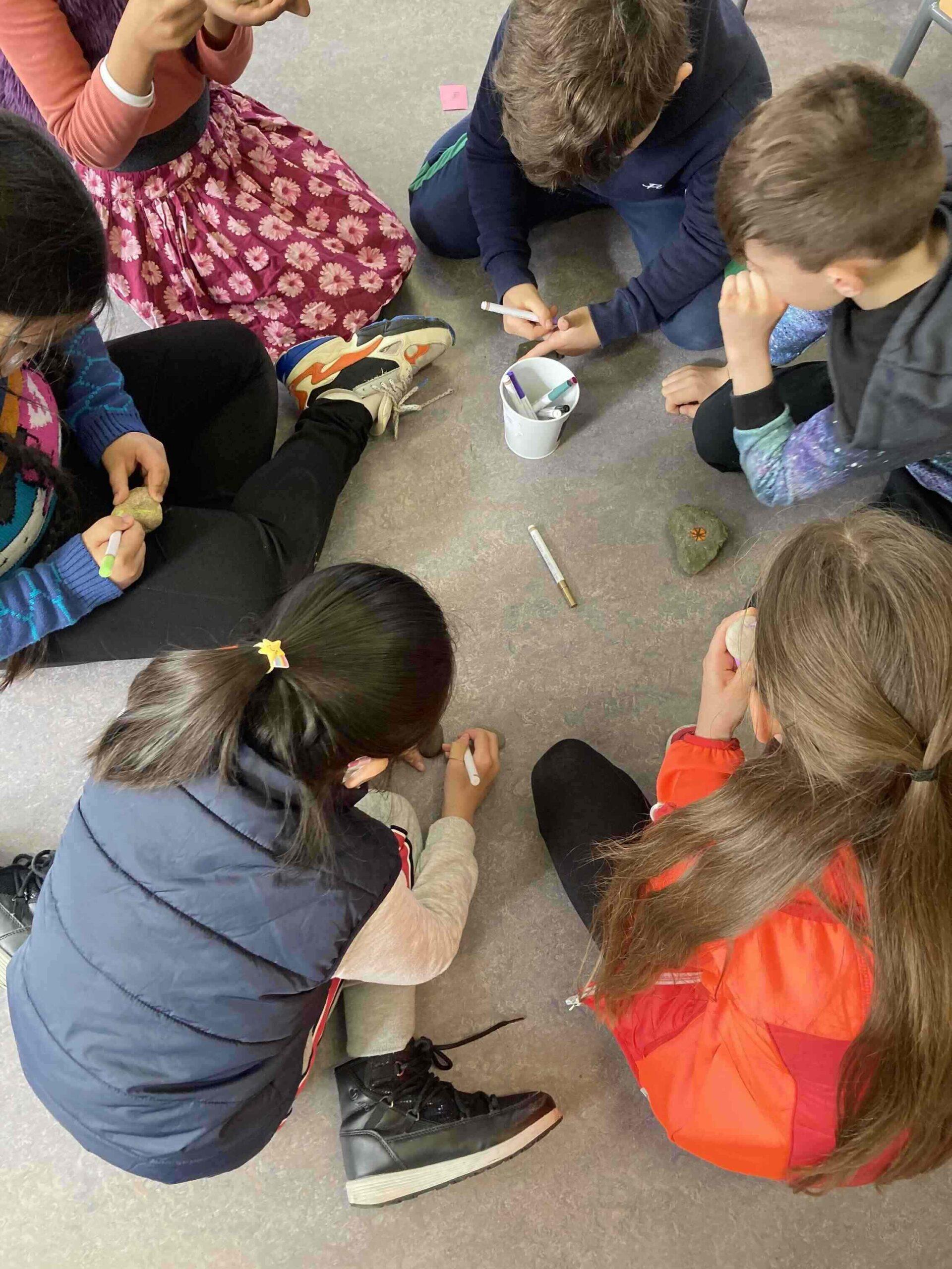 Creative Schools Week 2021 - The pupils doing rock painting.