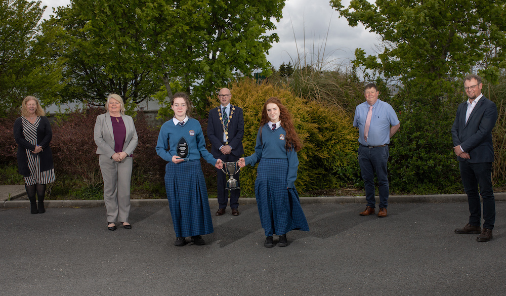 Desmond College Newcastle West - Mayor Michael Collins (c) pictured above presented the two students with their County Final Award, in the presence of Vourneen Gavin Barry, Principal, Desmond College NCW; Bernie Moloney, Local Enterprise Office Limerick; Emma O'Shea and Rebecca Enright, award winners; Donal Enright, Teacher and Garry Lowe, Student Enterprise Coordinator.