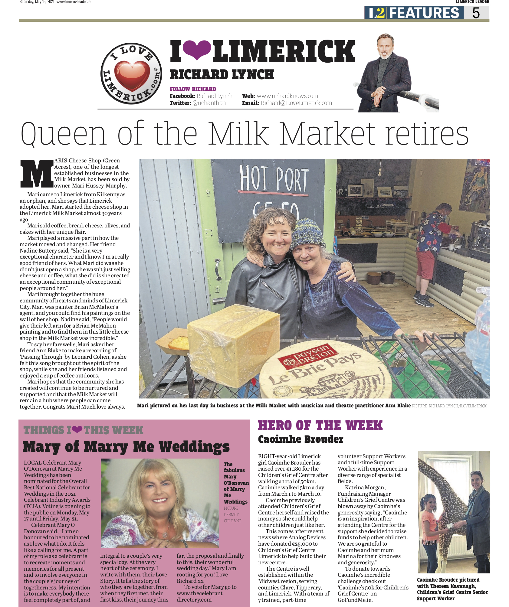 The Leader Column May 15 2021 - Queen of the Milk Market retires