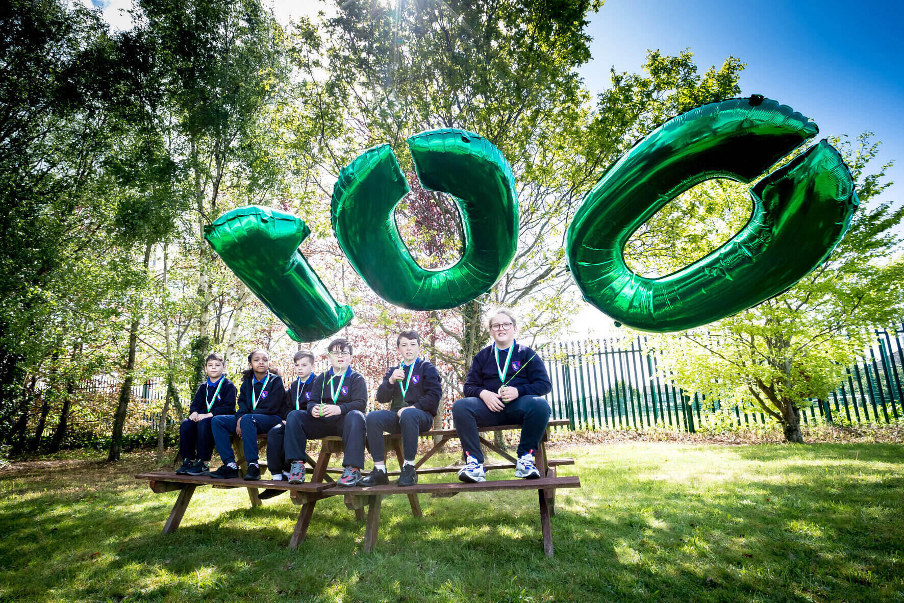 Investing in Children award - Third class pupils at Our Lady of Lourdes NS celebrating the 100th Investing in Children award. Picture: Keith Wiseman.