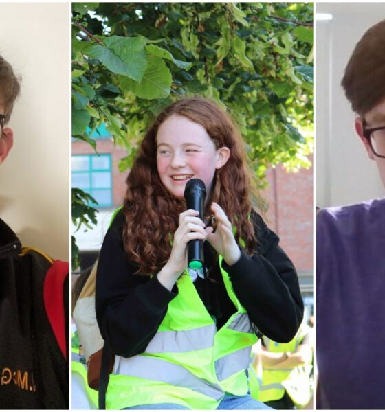 Irish Second Level Students Union officers Jack McGinn, Saoirse Exton and Eoin Connolly pictured above
