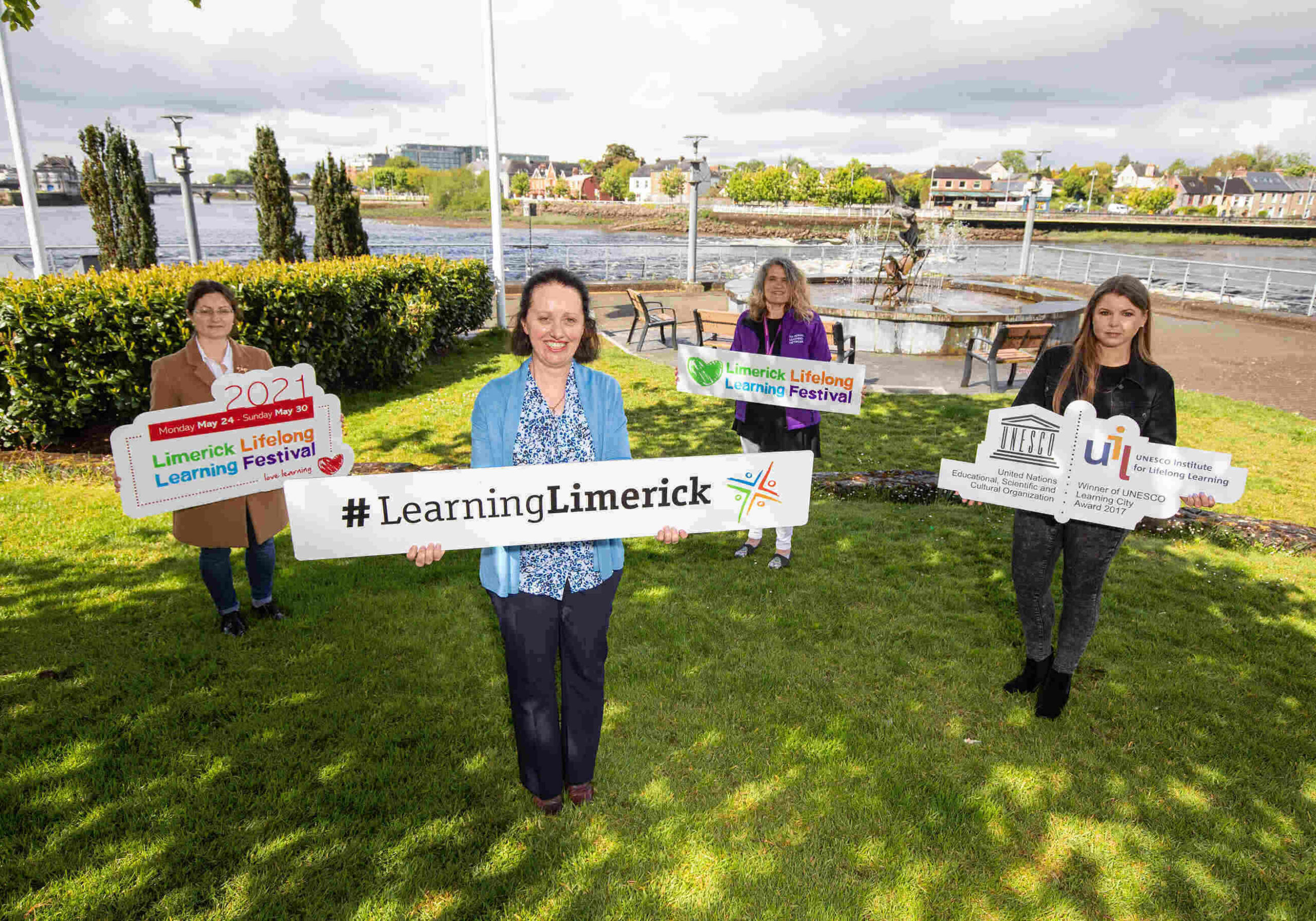 Lifelong Learning Festival 2021 - Pictured launching this year's festival were, Adrienne O'Connell, West Limerick Resources, Yvonne Lane, Learning Limerick, Margaret Murphy, National Learning Network and Mariola Jurewicz-Jurgas, PAUL Partnership. Picture: Alan Place.