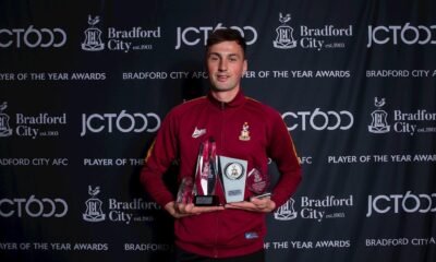 Paudie O Connor has been awarded four of the 13 awards up for grabs at the JCT600 2021 Bradford City Player of the Year Awards