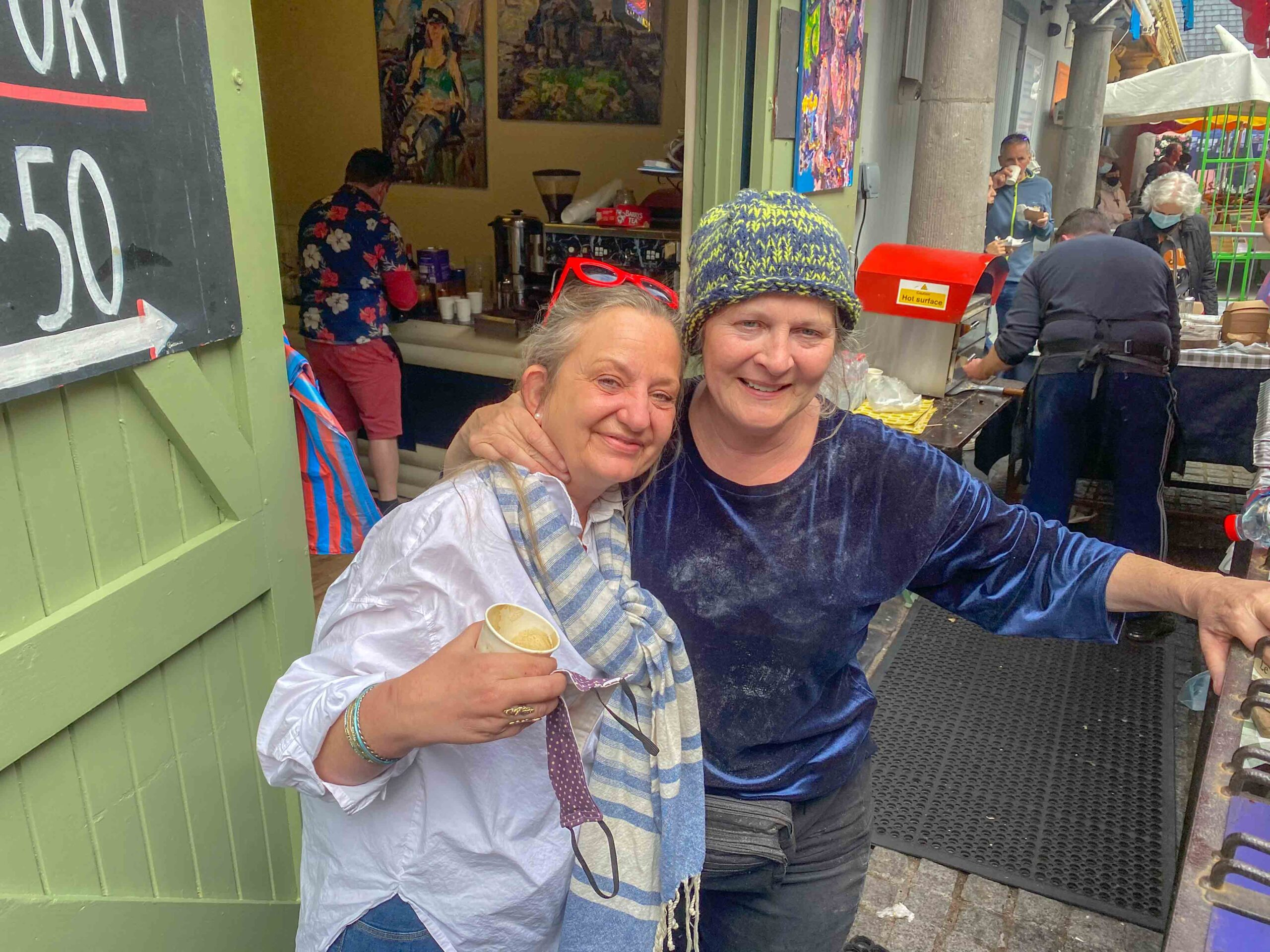Mari pictured on her last day at the Milk Market with good friend Nadine Buttery. Picture: Richard Lynch/ilovelimerick
