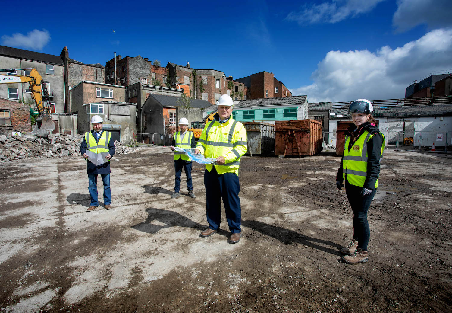 One Opera Square - Pictured L-R Kevin Mullery, Punch Consulting, Tomás Sexton, Coady Architects, David Conway, CEO Limerick Twenty Thirty and Natasha Corduff, Site Health and Safety Officer. Picture: Arthur Ellis