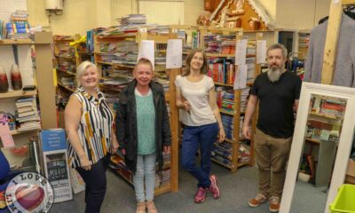GTEL Book Drive - Pictured at Gateway to Education Limerick are Suzanne Roche, Founder, Marian Hannafin, Shop Manager, Chiari Verdekal, Store Manager and Paul Goodwin, Assistant Manager. Picture: Richard Lynch/ilovelimerick