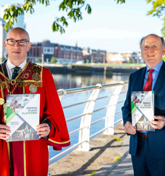 Limerick Libraries development plan - Pictured with Mayor Michael Collins is Damien Brady, Limerick City and County Librarian. Picture: Arthur Ellis.