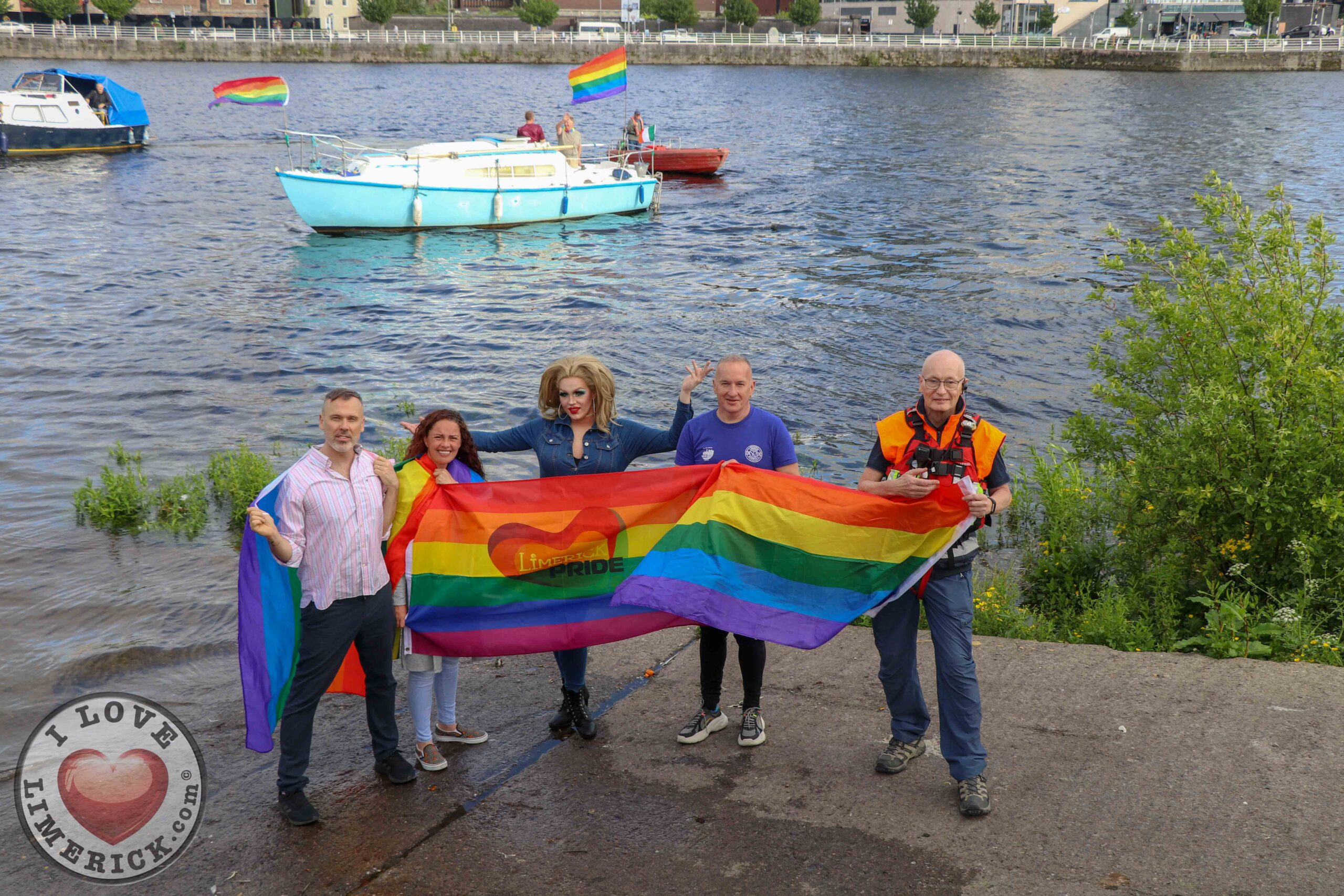 On Sunday, July 4, the Pride festivities will kick off with the Rainbow River Parade. Pictured are Richard Lynch, PRO Limerick Pride, Lisa Daly, Chairperson Limerick Pride, Carrie Deway, Alan Gleeson, Limerick Narwhals and Tom Sheehan, Limerick Suicide Watch. Picture: Farhan Saeed/ilovelimerick