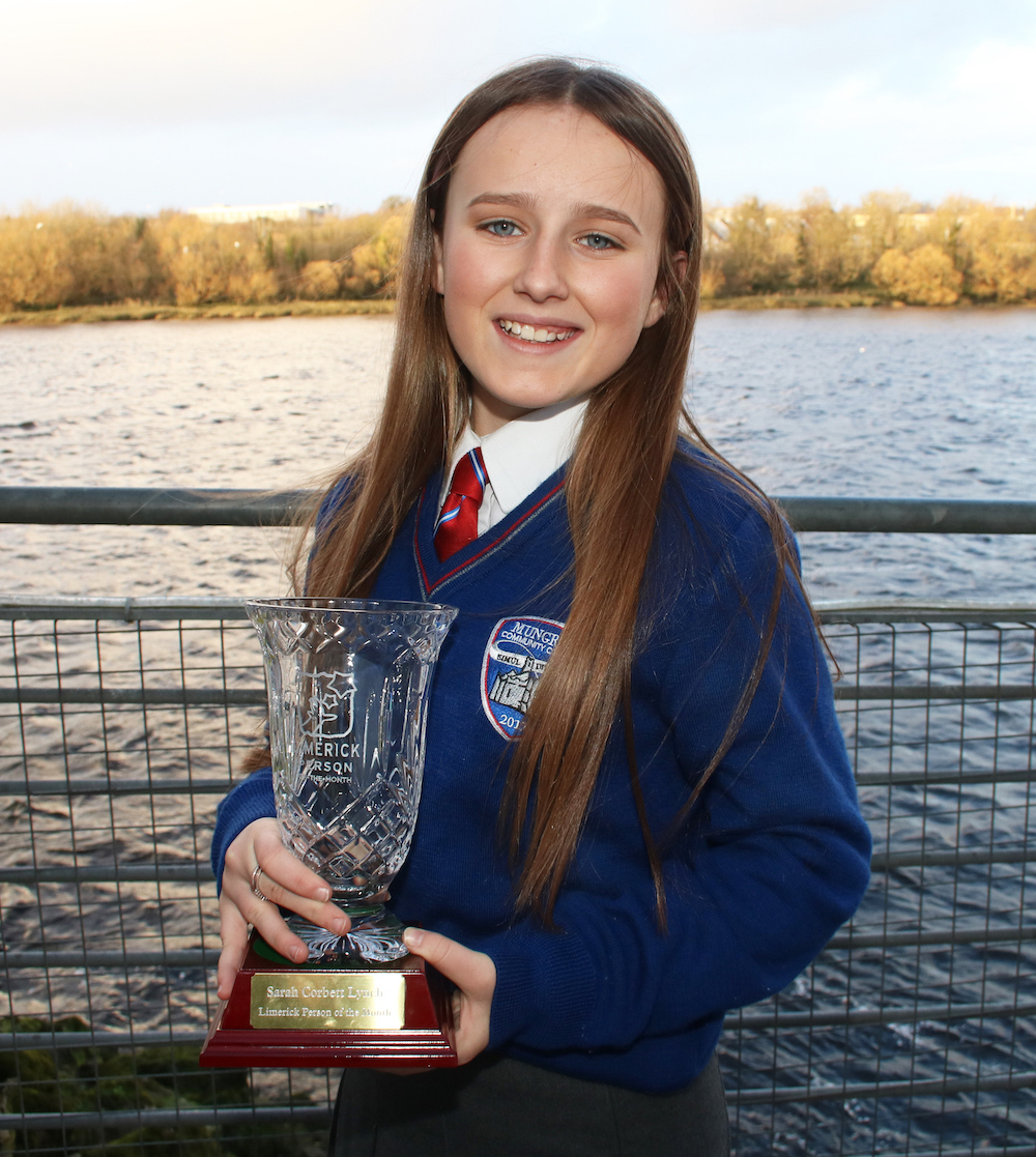 Sarah received a Garda Youth Award and Limerick Person of the Month Award for her incredible work. Picture: Adrian Butler