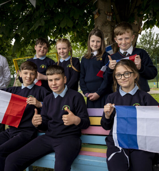 UL Academy for Children graduates Jay Broe, Abigail Barry, Niamh O'Callaghan, Warren Mahon, Chad Molloy, Alex Heffernan and Aaliyah Pickford from Our Lady Queen of Peace Primary School, Janesboro, Limerick. Also pictured Eamonn O'Connell, School Principal. Picture: Don Moloney