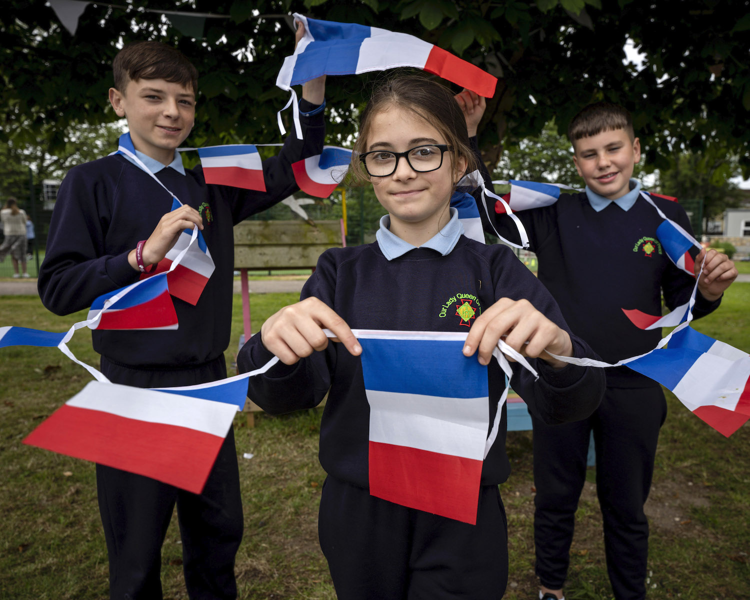 Chad Molloy, Aaliyah Pickford and Alex Heffernan from Our Lady Queen of Peace Primary School, Janesboro, Limerick. Picture: Don Moloney