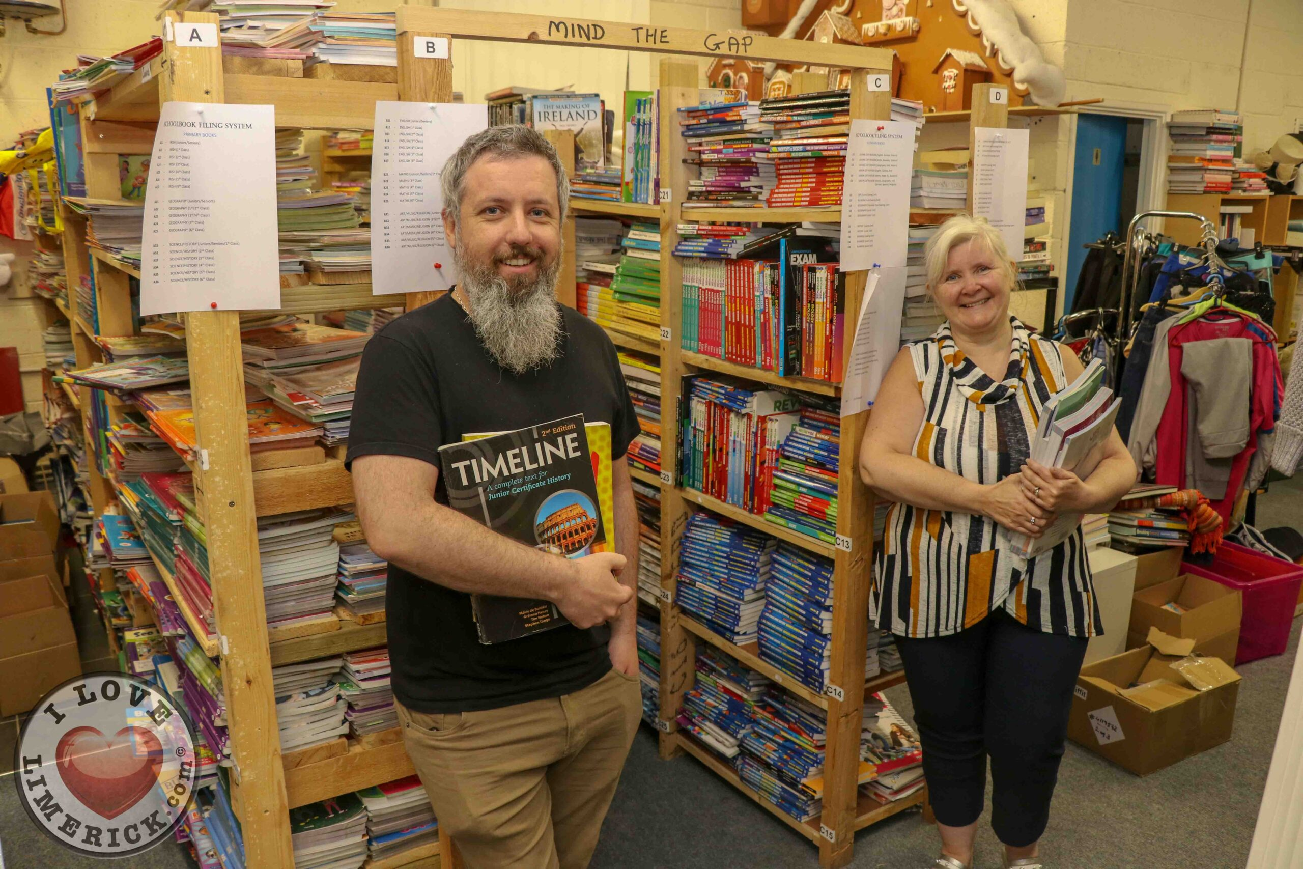 South Africa Schoolbook Donation Drive - Pictured at Gateway to Education Limerick are Paul Goodwin, Assistant Manager and Suzanne Roche, Founder. Picture: Richard Lynch/ilovelimerick