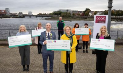 23rd Limerick Womens Mini Marathon - Pictured at the presentation was, Mayor of Limerick City and County, Cllr Daniel Butler, and Angela Moloney, director of Ethics & Compliance, EMEA, at Cook Medical (centre) with cheque recipients left to right, Kate Sheahan, St. Gabriels Foundation, Anne Marie Hayes, Milford Hospice, Mark Whelan, Limerick Athletics Club, Ann Mullins and Ann Slattery, Limerick Suicide Watch and Juliette O'Connell, Breast Cancer Ireland. Picture: Alan Place