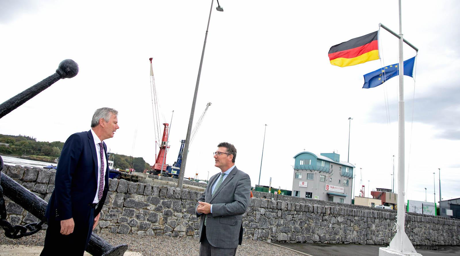 Dr Stefan Kaufmann Dr Stefan Kaufmann pictured above on right, meets Pat Keating, CEO Shannon Foynes Port Company. Picture: Arthur Ellis