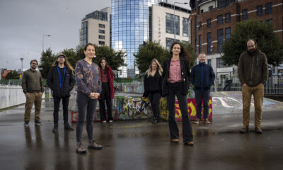 ENGINE Docs winners ENGINE Docs winners - Film makers Pete Moles, James Skerritt, Muireann de Barra, Marian Morrissey, Melissa Collins, Renata Lima, Paul C. Ryan (Regional Film Manager at Film in Limerick) and Andrew Keogh pictured in Limerick City. Picture: Don Moloney