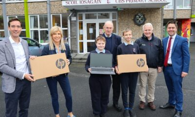 LEDP supports Scoil Iosagain - Pictured at Scoil Iosagain CBS Primary School were Principal Dennis Barry, Deputy Principal Doireann Garrard, Br James Dormer and students, along with LEDP CEO Niall O'Callaghan and George Lee, Manager of Community Initiatives LEDP. Picture: Dermot Lynch