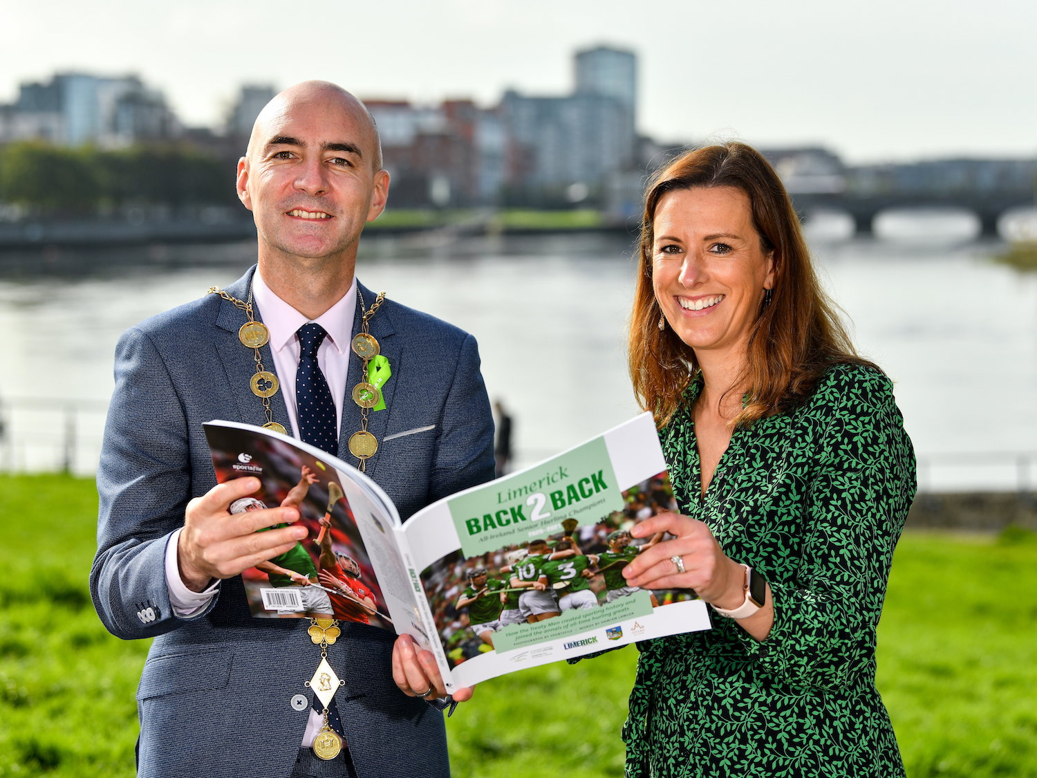 Limerick Back 2 Back Daniel Butler, Mayor of the City and County of Limerick, with Laura Ryan, Head of Marketing and Communications with Limerick City and County Council. Picture: Diarmuid Greene/Sportsfile