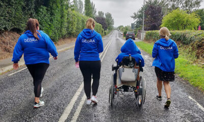 StepTember StepTember - Trisha Lewis (far left) led the StepTember walking challenge for DEBRA Ireland. Pictured with DEBRA Ireland head of fundraising and marketing, Michelle Reynolds, DEBRA patient ambassador Emma Fogarty (in wheelchair) and Georgina Herlihy, Emma's PA (far right). Picture: Michael Scully.