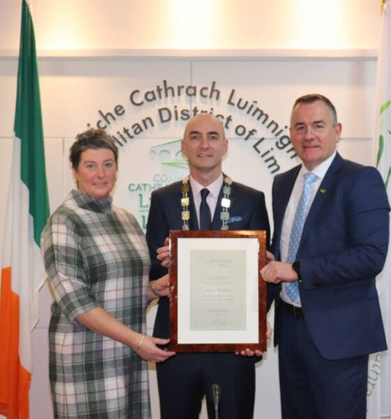 Covid Stability Funding Limerick – Pictured above with Mayor Daniel Butler are founders of Cliona's Foundation, Terry and Brendan Ring, who received €100,000 in Covid Stability Funding. Picture: Conor Owens/ilovelimerick.