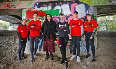 Fresh Screens 2021 - Jayne Foley, Festival Founder (3rd from left) pictured here with young filmmakers from around Ireland. Picture: Dermot Culhane.